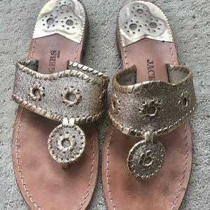 Jack Rogers gold metallic sandals flip flops 8M